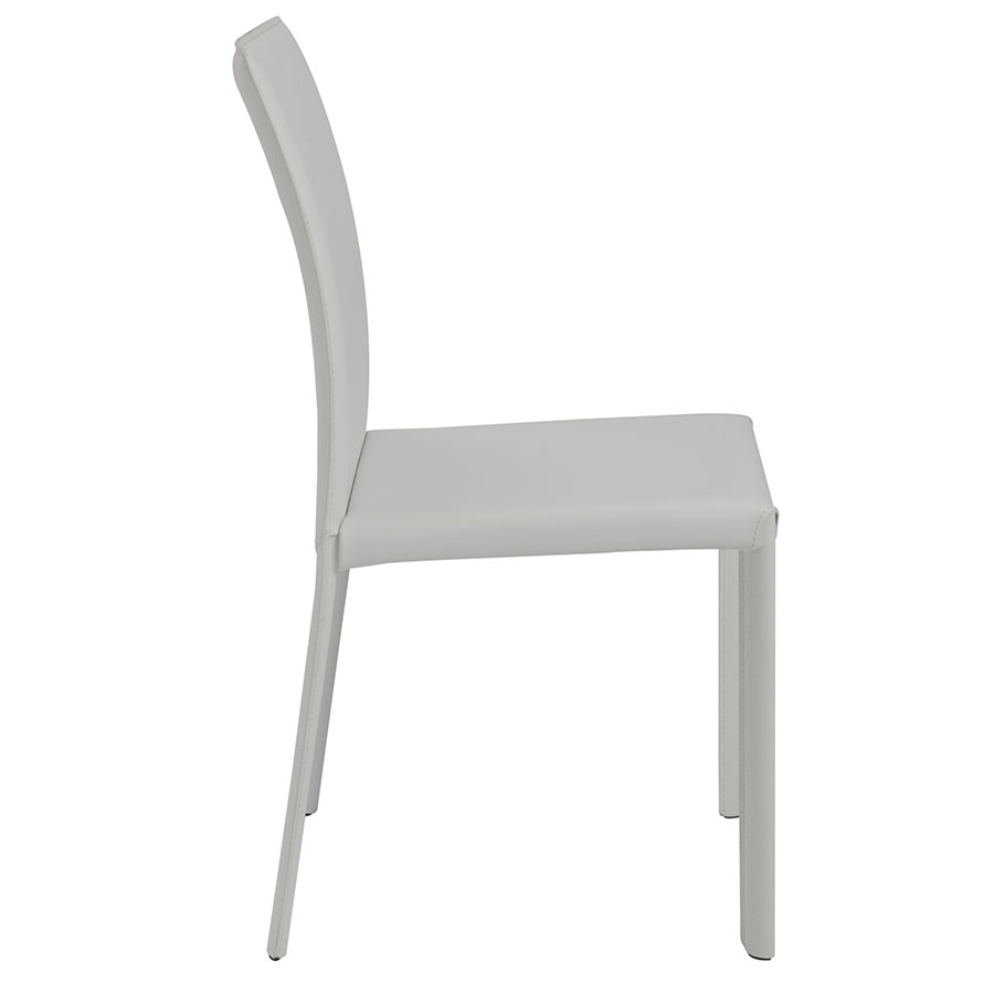 Heather Modern White Leather Dining Chair - Side View