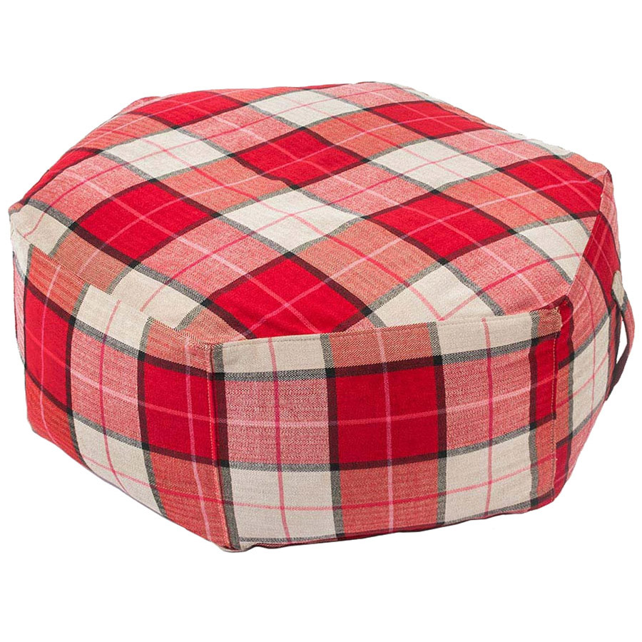 Hex Ottoman in Tartan Rouge by Gus Modern