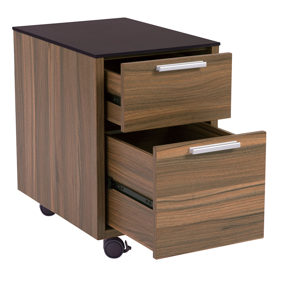 Hillard Modern File Cabinet with Black Top - Open
