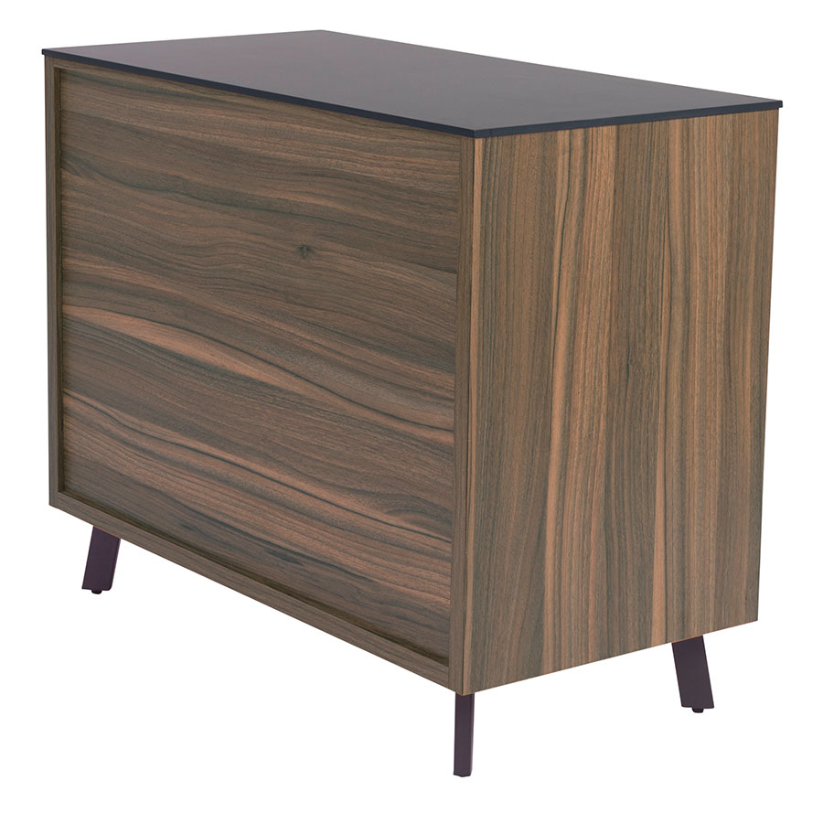 Hillard Modern Lateral File Cabinet with Black Top - Back View