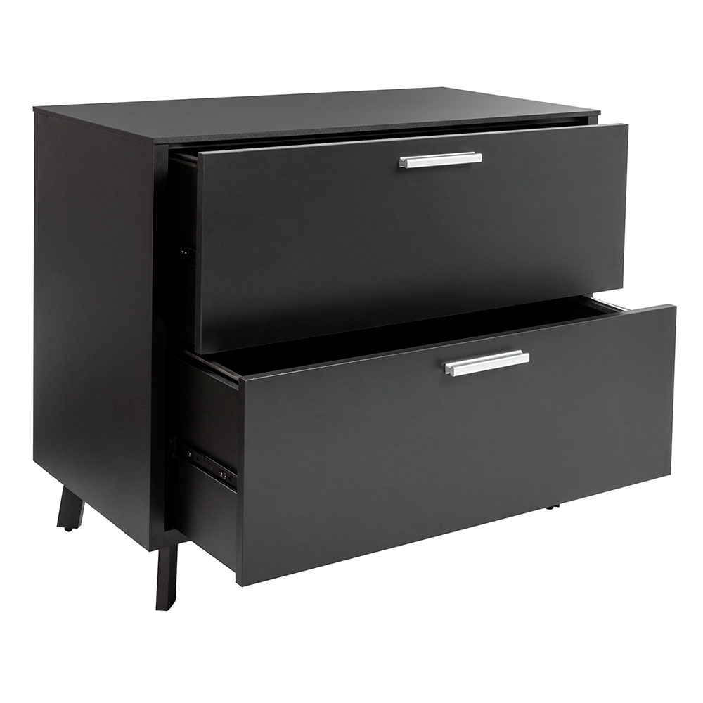 Hillard Modern Lateral File Cabinet with Black Top - Open