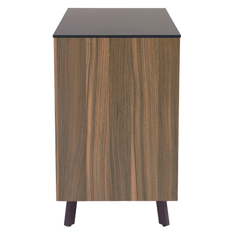 Hillard Modern Lateral File Cabinet with Black Top - Side View