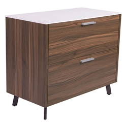 Hillard Modern Lateral File Cabinet with White Top