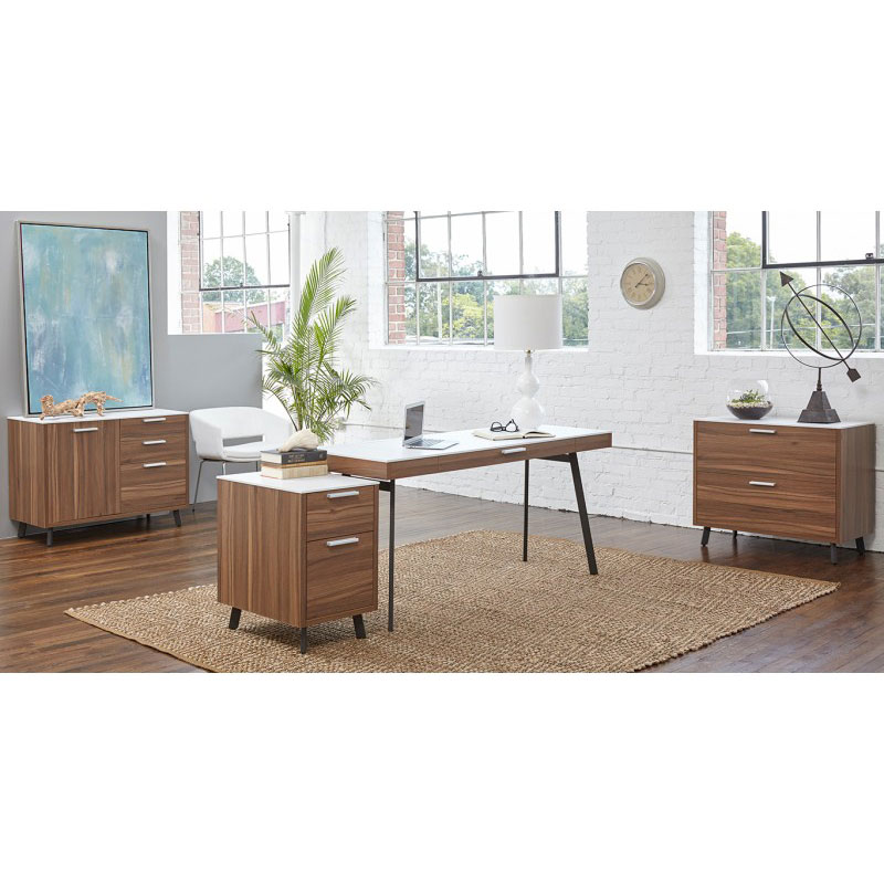 Hillard Modern Office Collection in Walnut / White