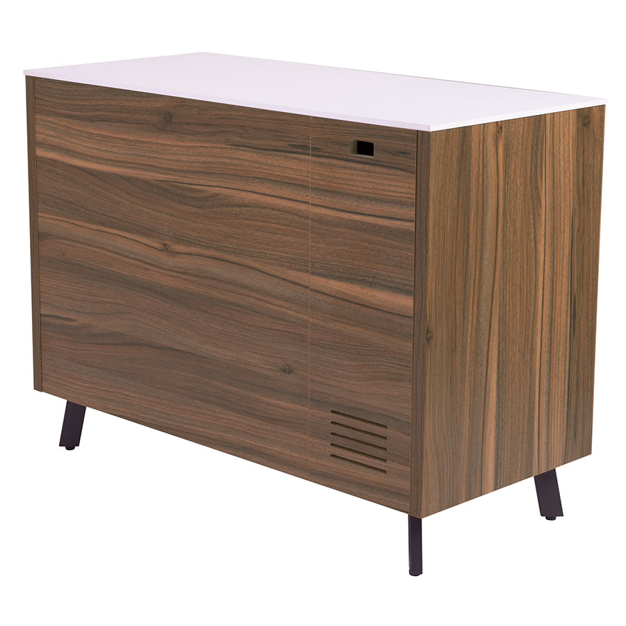 Hillard Modern Walnut & White Sideboard Finished Back