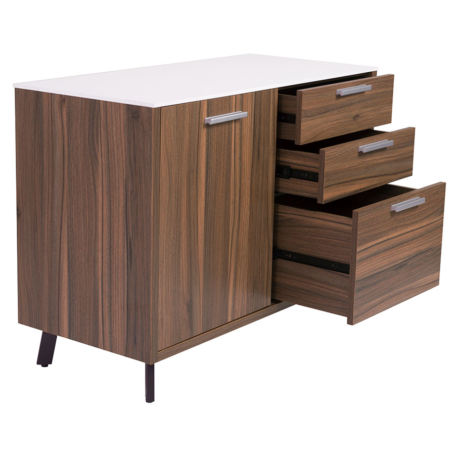 Hillard Modern Sideboard w/ White Top - Open