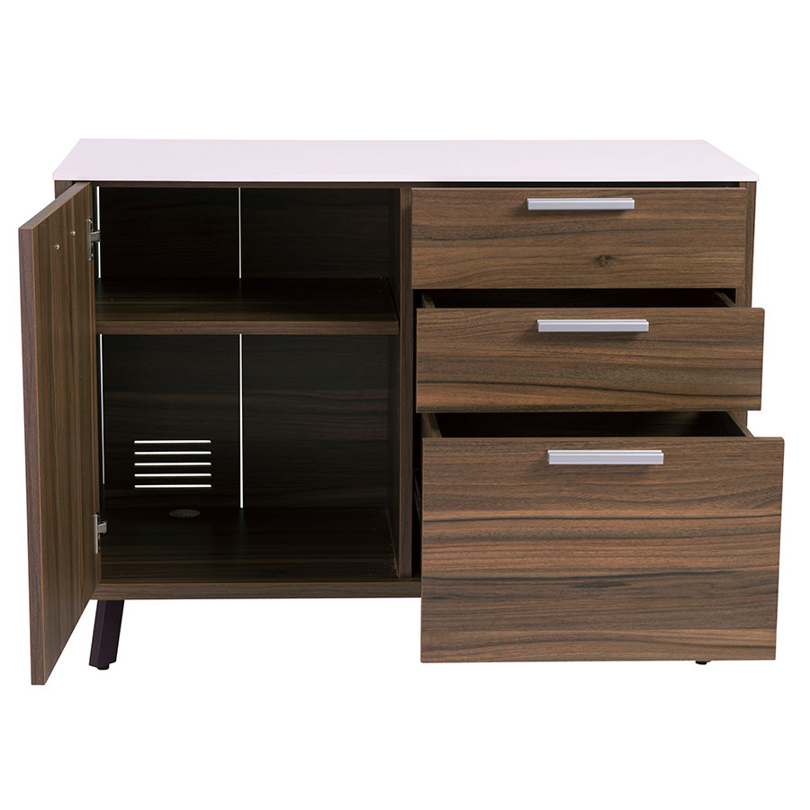 Hillard Modern Walnut & White Sideboard - Open