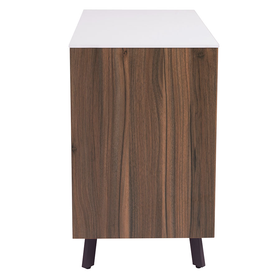 Hillard Modern Walnut & White Sideboard - Side View