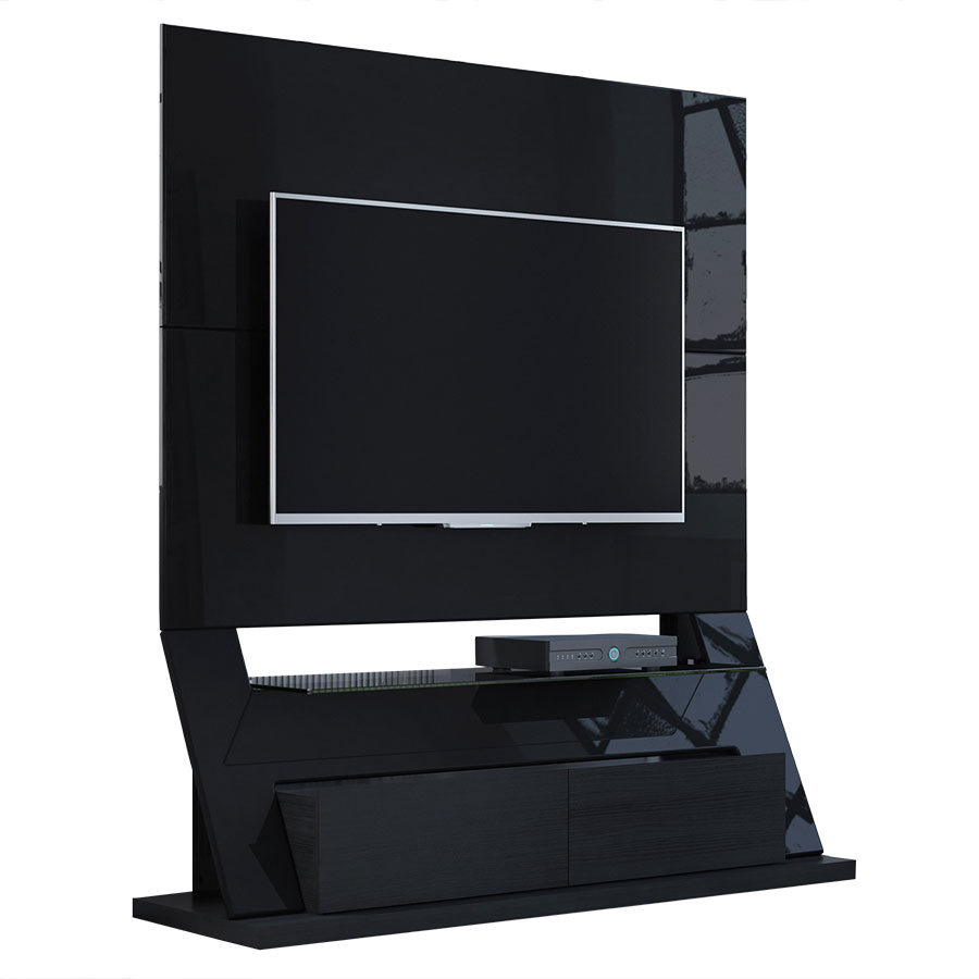 Ipswich Black Modern Freestanding Theater Stand