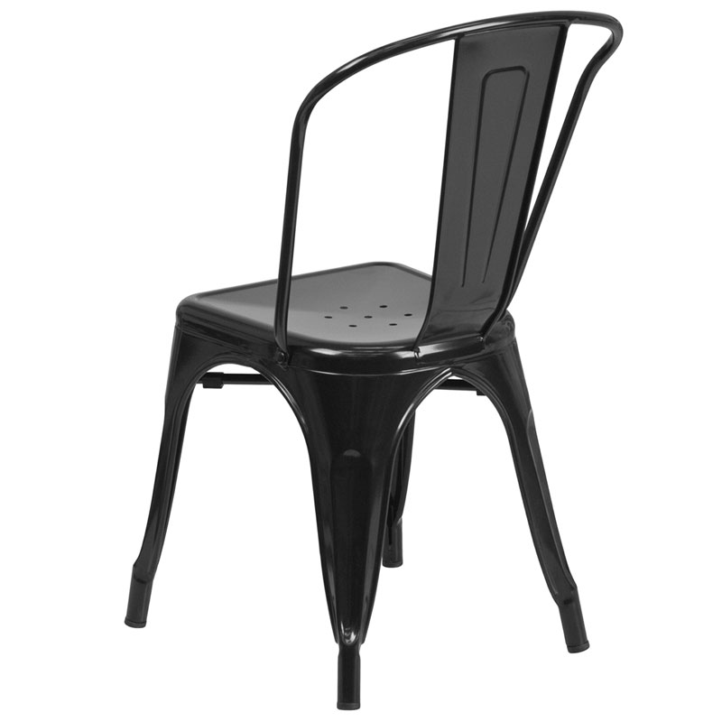 Isabella Modern Bistro Chair in Black - Back View