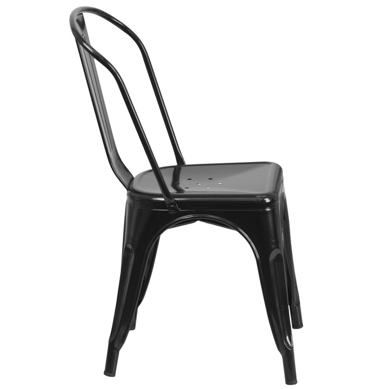 Isabella Modern Bistro Chair in Black - Side View