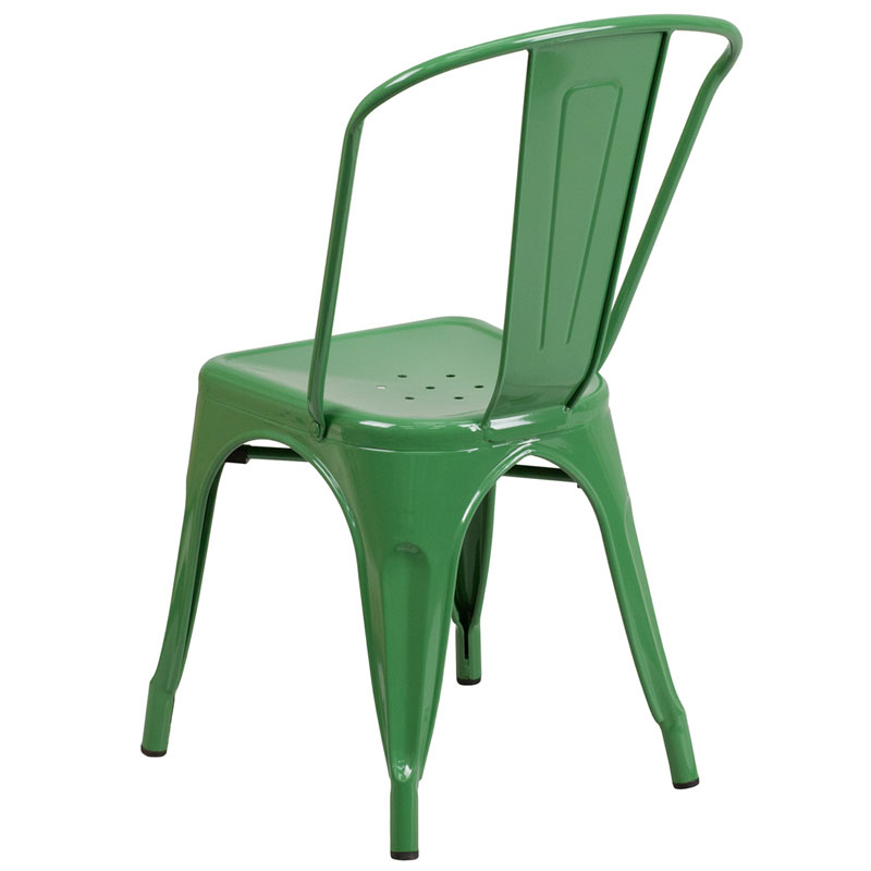 Isabella Modern Bistro Chair in Green - Back View