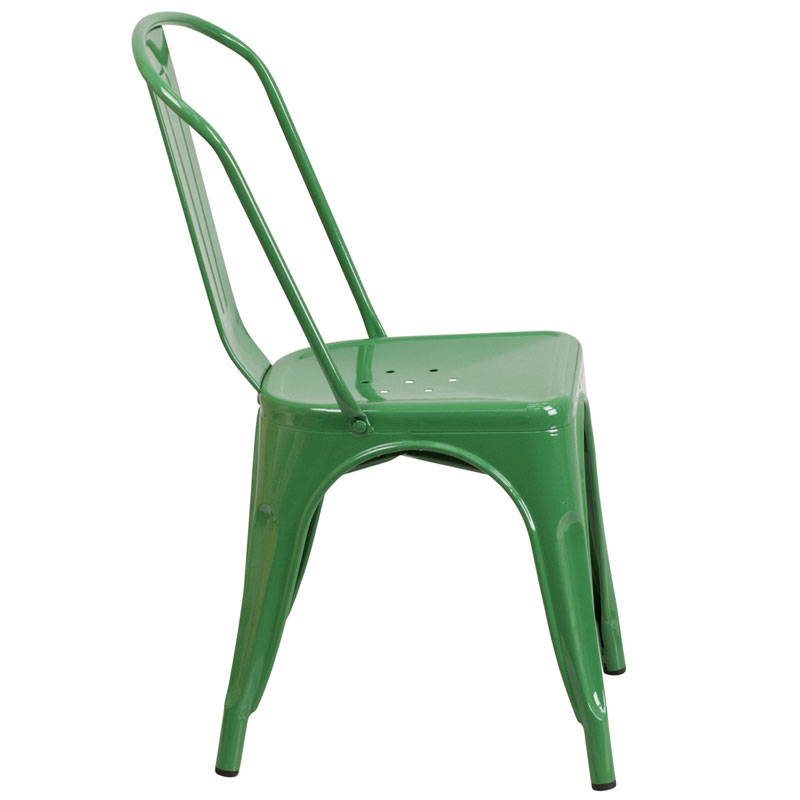 Isabella Modern Bistro Chair in Green - Side View