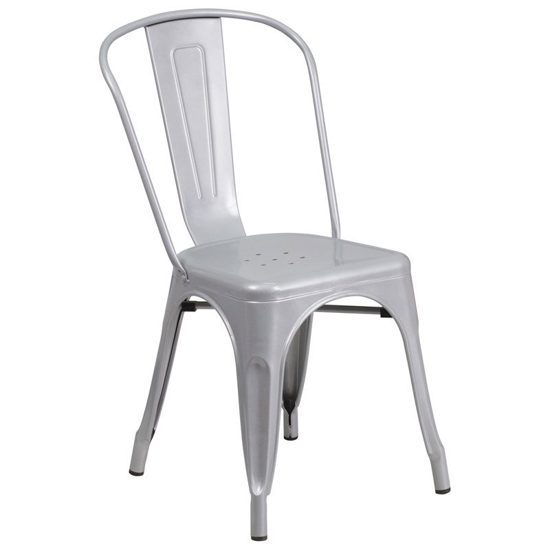Isabella Modern Bistro Chair in Silver