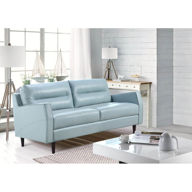 Ivy Contemporary Blue Leather Sofa