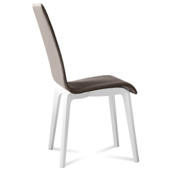 Jake White + Taupe Modern Dining Chair