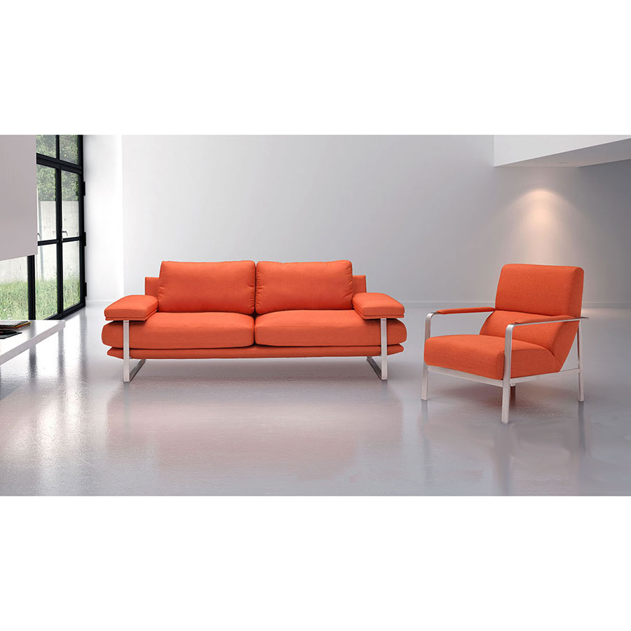 Jamal Orange Fabric + Polished Steel Modern Sofa