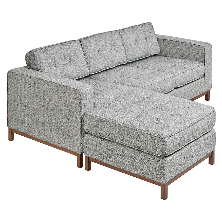 Jane Contemporary Loft Walnut Bi-Sectional Sofa in Sterling Gravel by Gus* Modern
