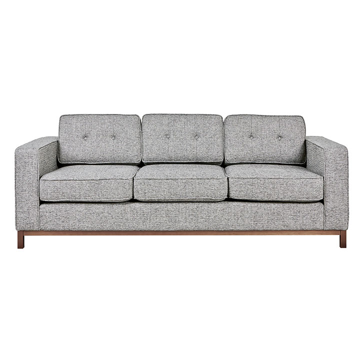 Jane Contemporary Walnut Base Sofa in Sterling Gravel by Gus* Modern