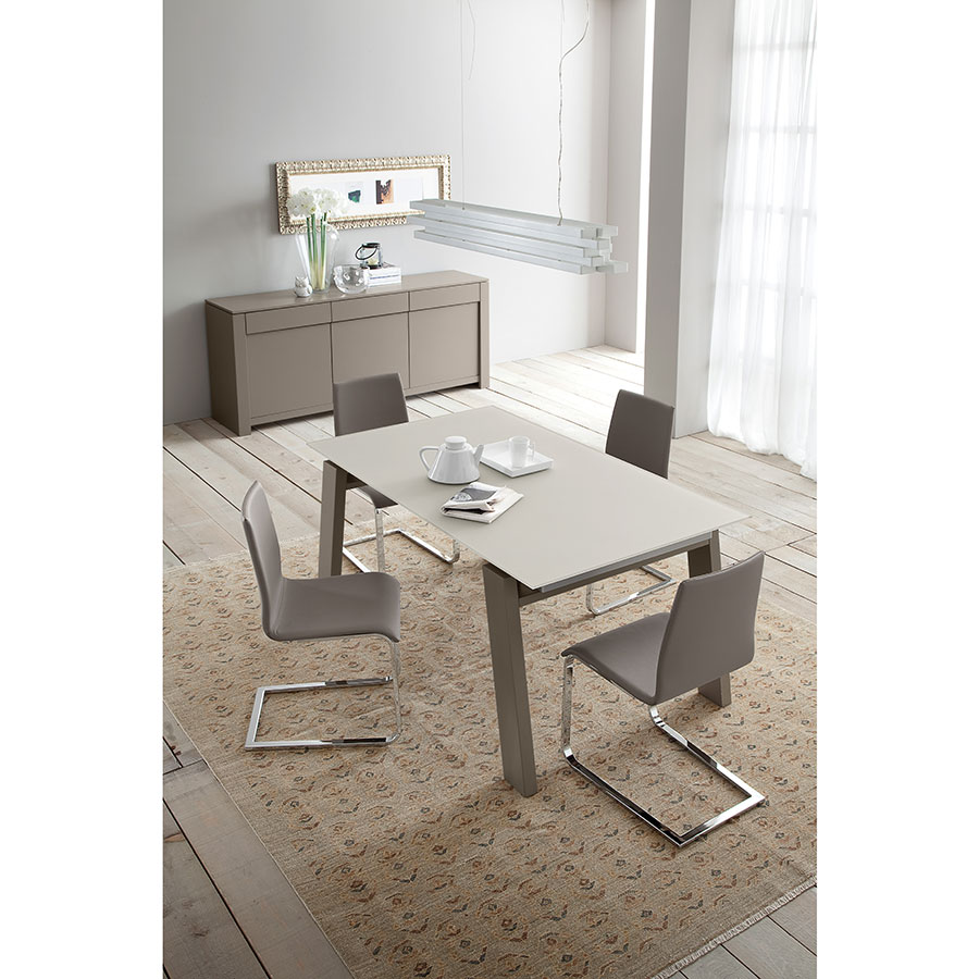 Jean Chrome + Taupe Modern Set of Dining Chairs