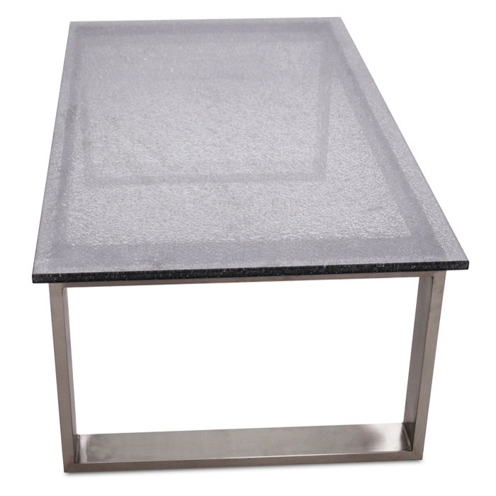 Jeffrey Smoked Crackled Glass Modern Coffee Table
