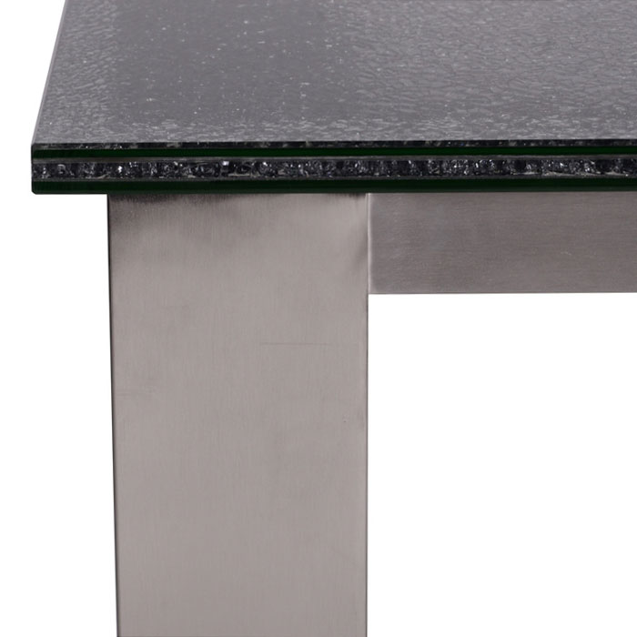 Jeffrey Modern Table - Smoked Crackled Glass Edge Detail