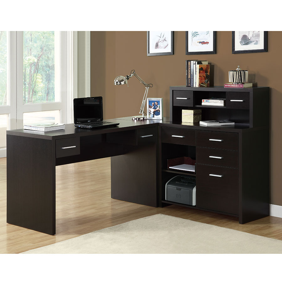 Jordi Contemporary L-Desk Set in Cappuccino