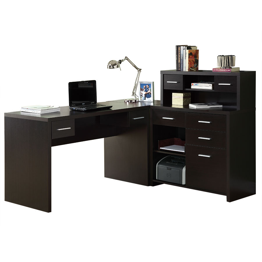 Jordi Modern L-Desk Set in Cappuccino