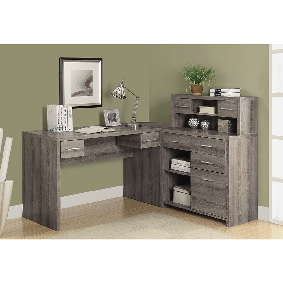 Jordi Modern L-Desk Set in Dark Taupe