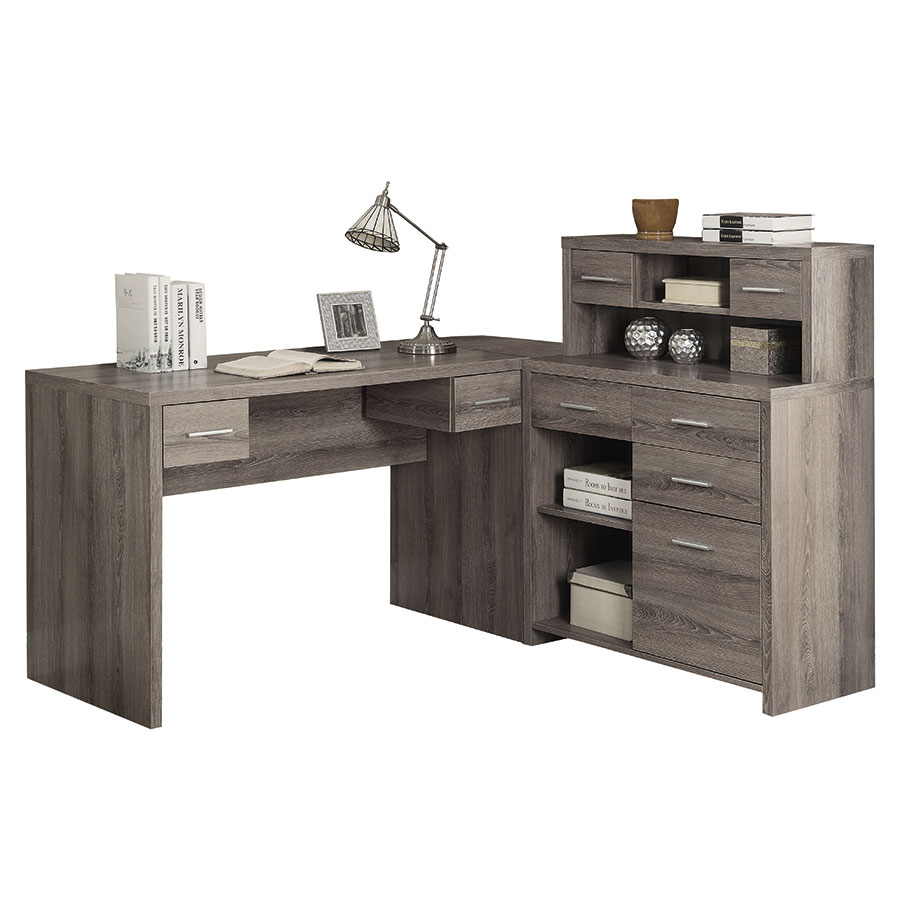 Jordi Contemporary L-Desk Set in Dark Taupe