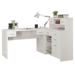 Jordi Modern L-Desk Set in White