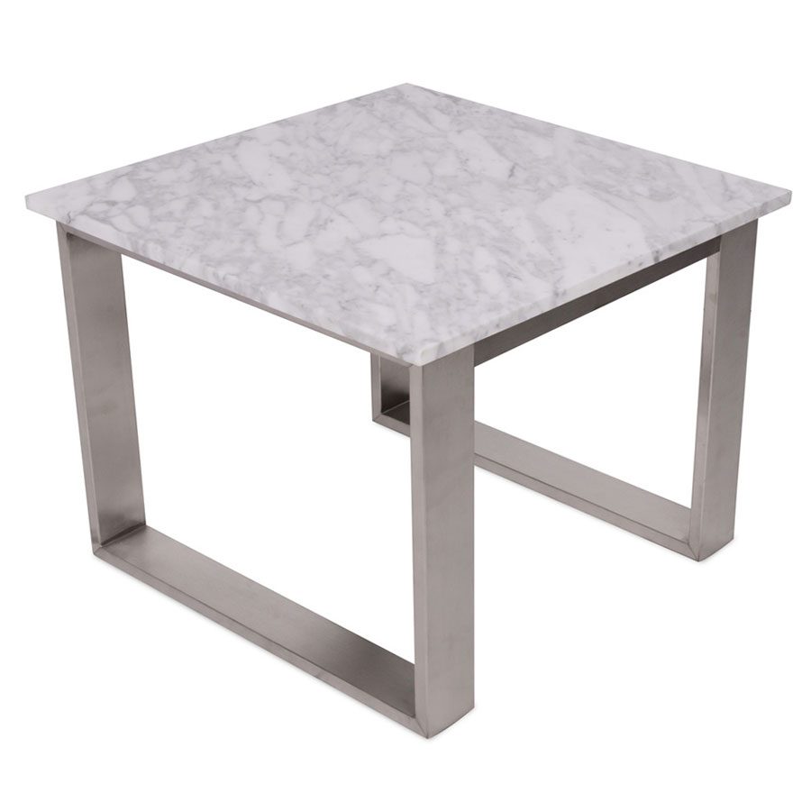 Joseph Modern End Table - White Marble Top