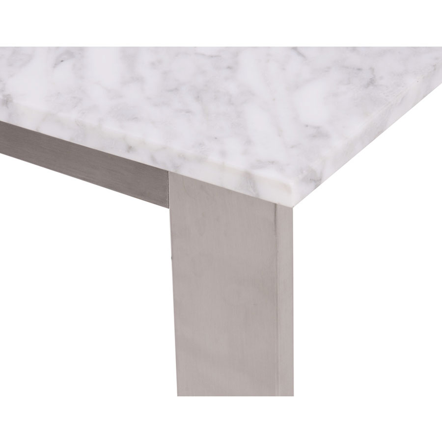 Joseph Modern End Table - Stainless + Marble