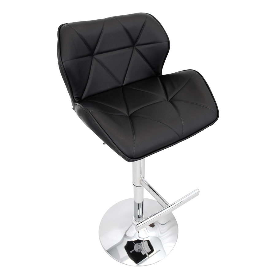 Joy Black Leatherette Modern Adjustable Stool