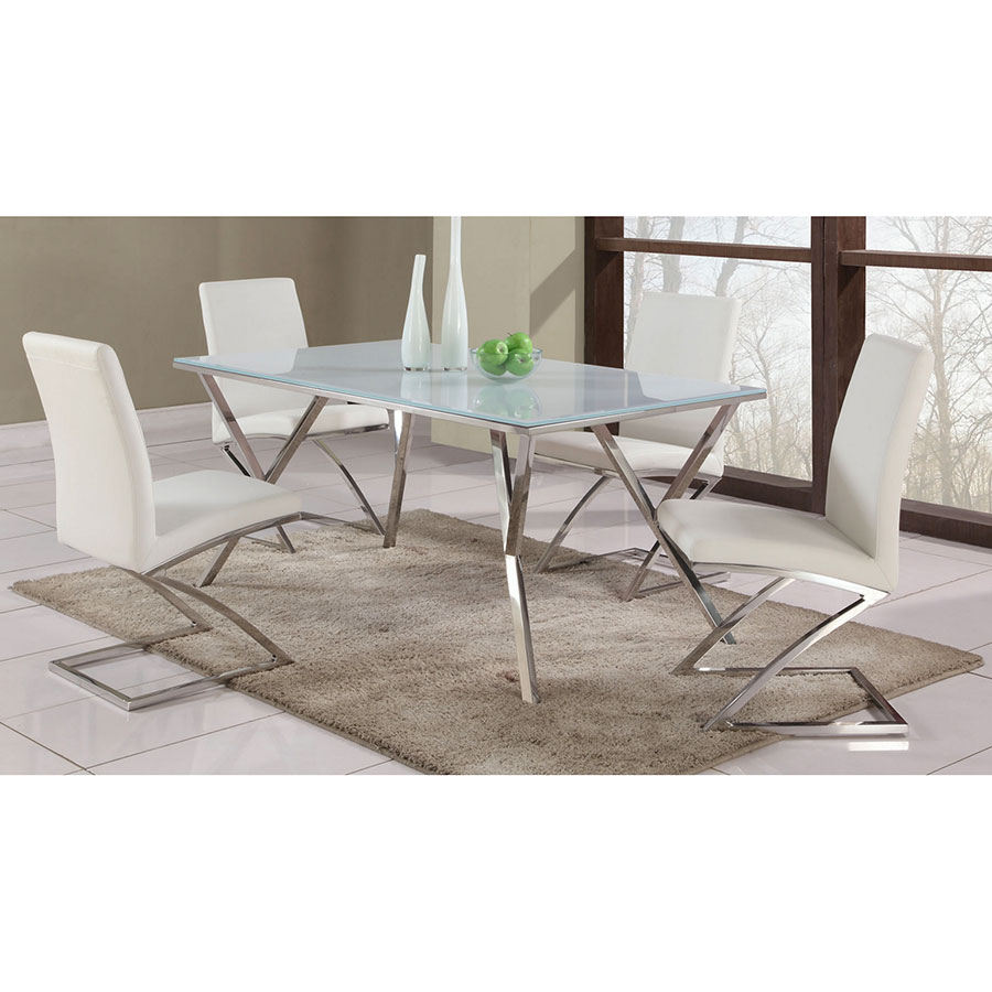 Judson Contemporary White Chairs + Dining Table