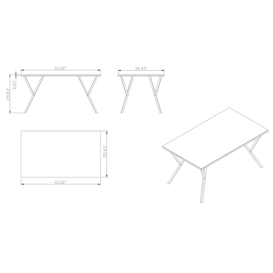 Judson Modern Dining Table - Dimensions