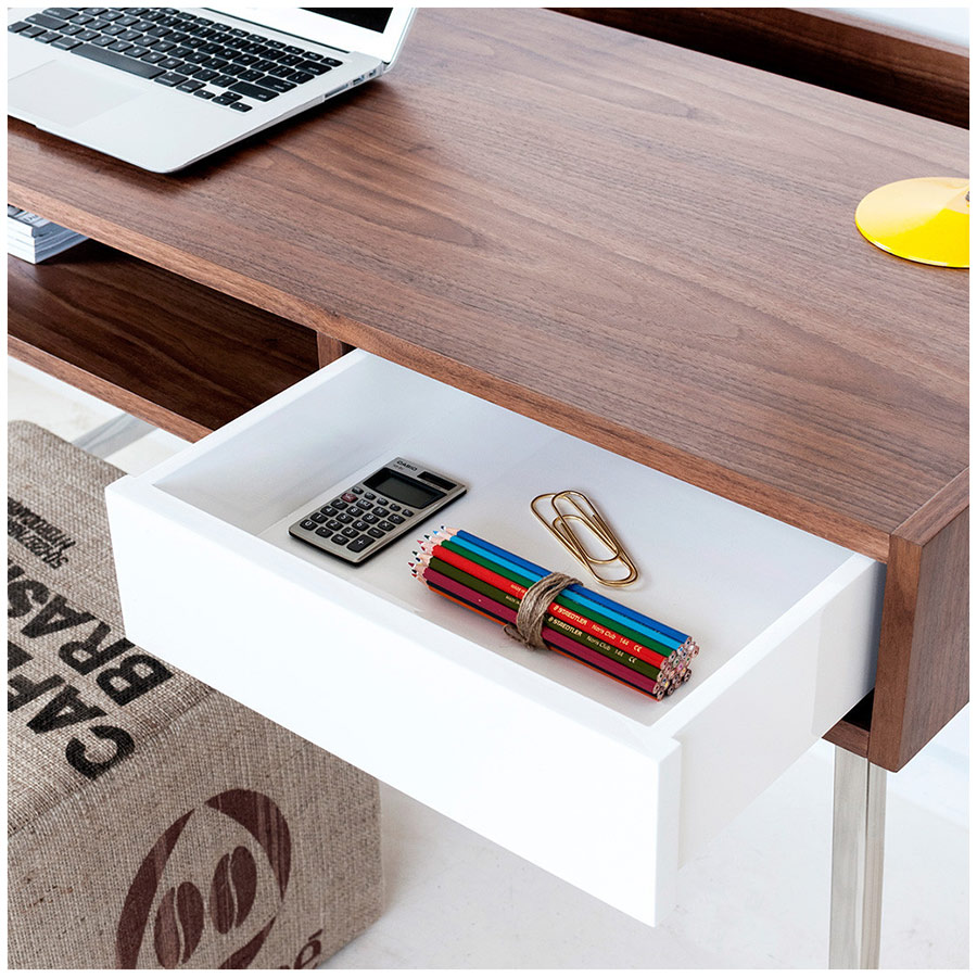 Junction Desk with White Lacquer Drawer by Gus Modern