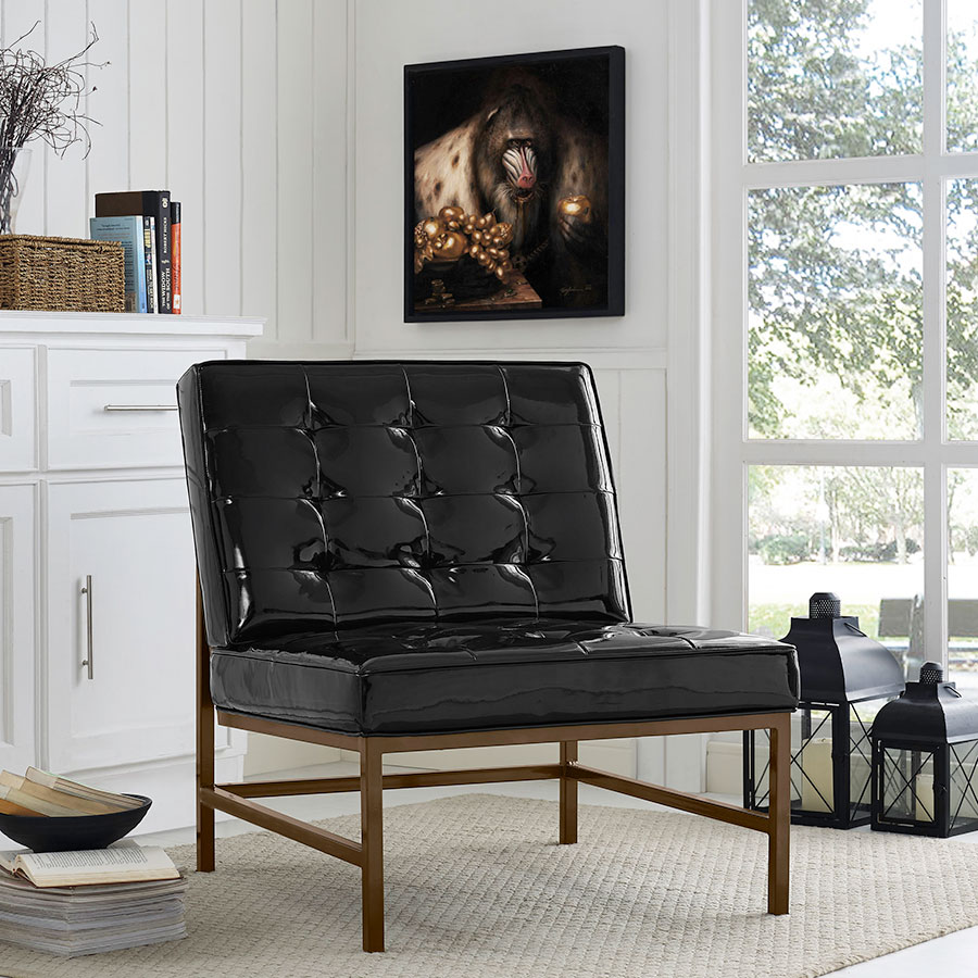 Juneau Modern Faux Black Patent Leather Chair