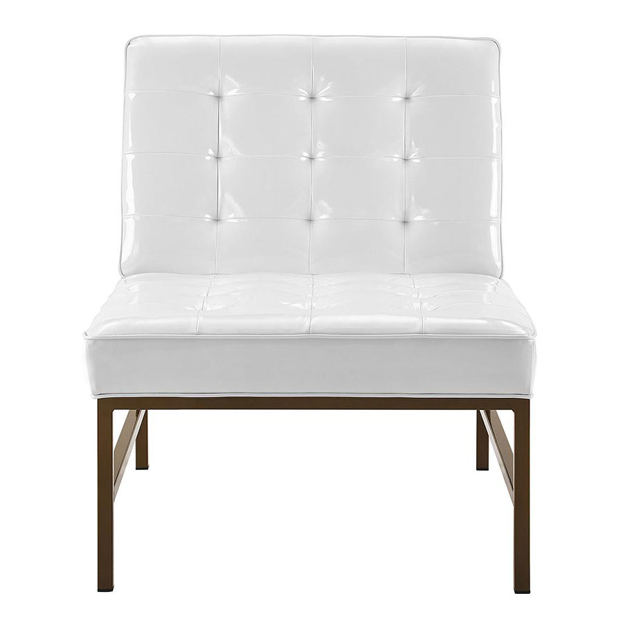 Juneau White Faux Leather Modern Lounge Chair