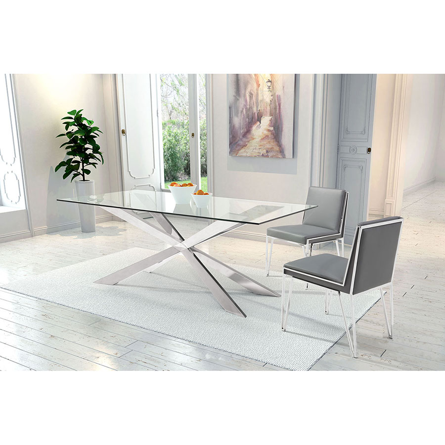 Kaden Gray Leatherette + Brushed Steel Contemporary Dining Chair