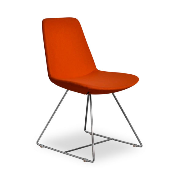 Keene Orange Wool Modern Dining Chair