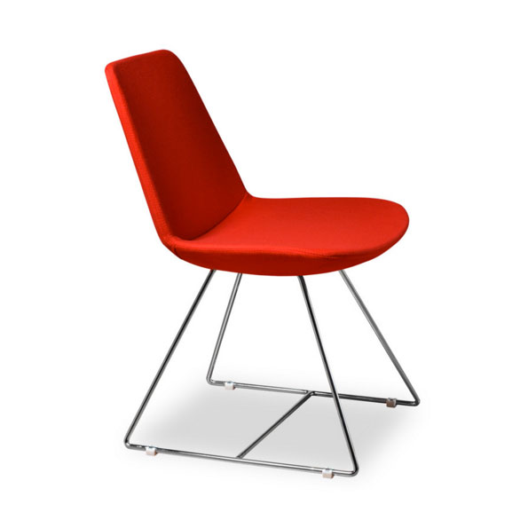 Keene Red Wool Modern Dining Chair