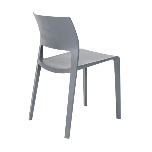 Kelsey Modern Gray Stacking Chair - Back View
