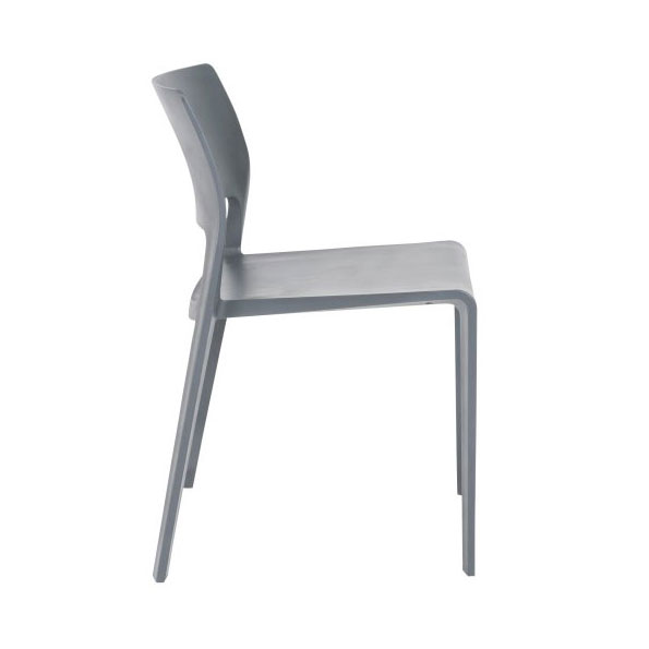 Kelsey Modern Gray Stacking Chair - Side View