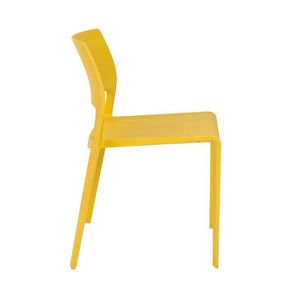 Kelsey Modern Yellow Stacking Chair - Side View