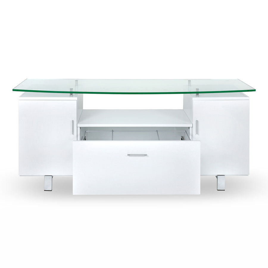 Kohler Modern Credenza in White - Open Drawer