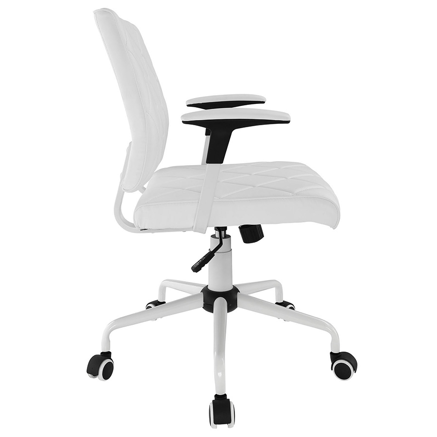 Ladera Modern White Office Chair - Side View