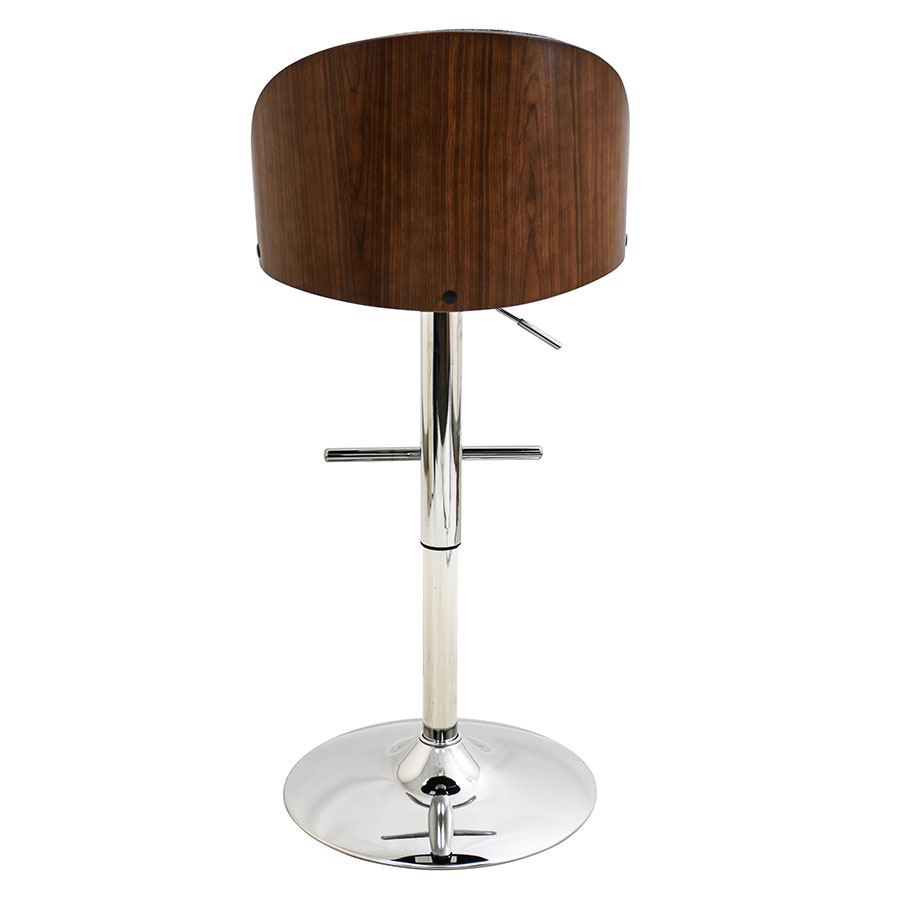 Laney Blue + Walnut Modern Adjustable Bar Stool