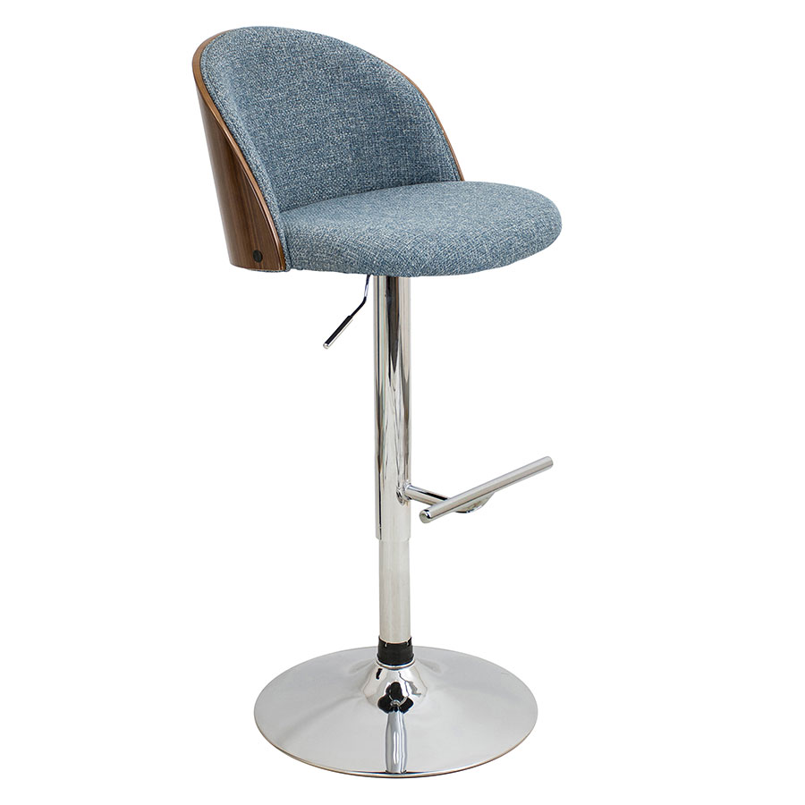 Laney Blue Modern Adjustable Bar Stool