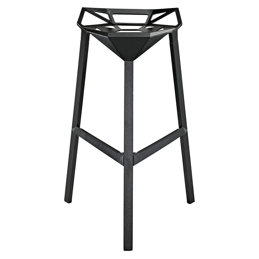 Laurel Black Ultra Modern Indoor/Outdoor Bar Stool - Front View